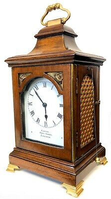 Stunning Antique Mahogany Miniature Bracket Clock Pull Reapeat With Painted Dial