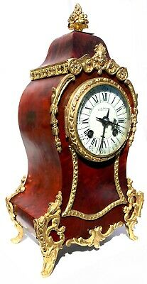 Antique Red Shell Boulle Mantel Clock With Ormolu Mounts J W Benson London