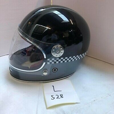 Viper Seconds Motorcycle Helmet F656 Fullface Retro Black Grey Chequer Large 528