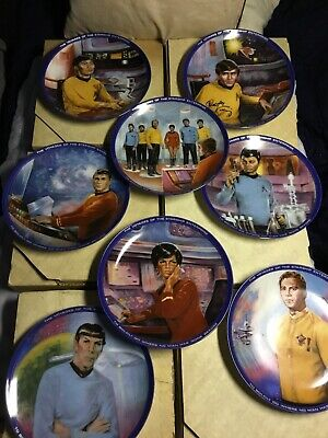 Lot 8 Star Trek Original Voyages Of Starship Enterprise Plates Autographed