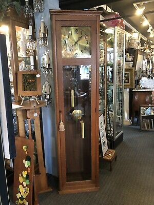 Antique Arts & Crafts Quarter Sawn Oak Working Grandfather Clock Mission Style