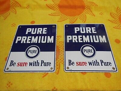 Pure Premium Gas Pump Porcelain Signs Original 1956 Matching Pair