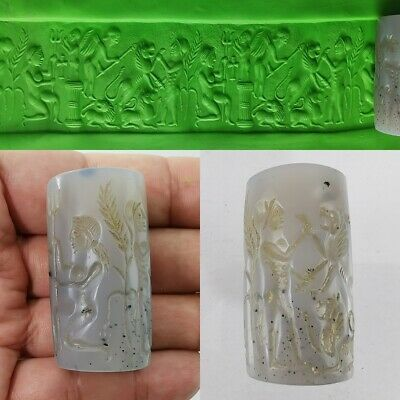 Cylinder Seal Roman God White Agate Bead Old Near Eastern Round Intaglio #374