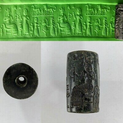 Cylinder Seal Sassanian King Bead Very Old Black Agate Round Intaglio #373