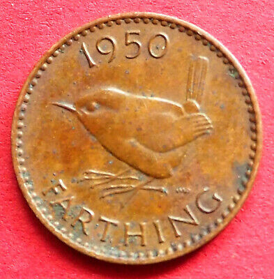 Great Britain Scarce King George Vi 1950 Wren Farthing Coin Birthday - Date Gift