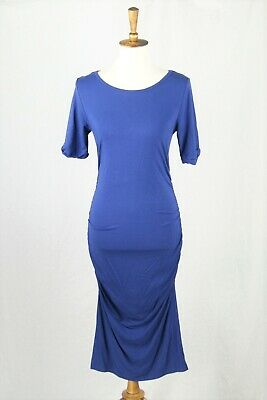 Isabella Oliver Blue Ruched Stretch Jersey Maternity Midi Dress Size 3  8