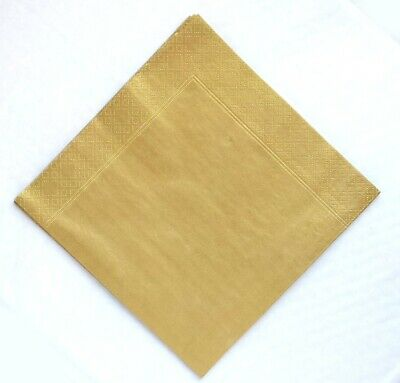 Gold metallic 3 ply Dinner napkins 40cm.  50 in pack Wedding, birthday, party