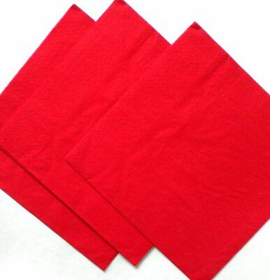 Red 3 ply Dinner napkins 40cm.  50 in pack Wedding, birthday, party