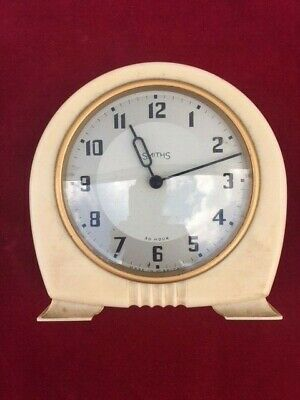 Art Deco Smiths 30 hour Clock Cream Bakerlite with silver face Spares or Repair