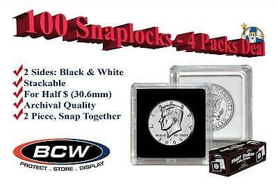 100 BCW 2x2 Snaplocks Square Capsule For US Half Dollar $ Size Coins 30.6mm New
