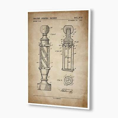 Barber Pole Patent; Patent Poster, Unframed, Barbershop Decor, Patent Artwork
