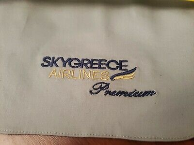 Thomas Cook Genuine Branded LIGHT GREY LEATHER Airplane Headrest cover 6895