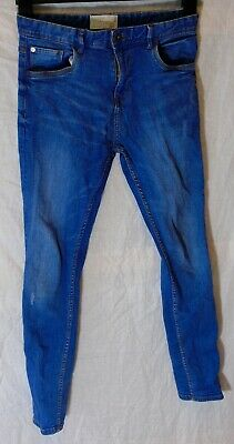 Boys Matalan Blue Whiskered Distress Denim Stretch Skinny Fit Jeans Age 13 Years