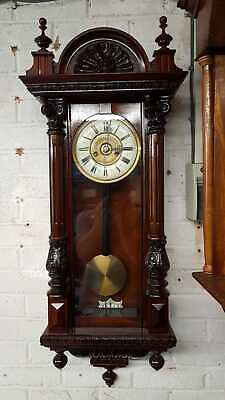 Beautiful Antique German 8 Day Striking Carved Vienna  Wall Clock