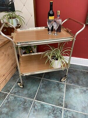 Vintage Retro 2 Tier Cocktail Drinks Serving Trolley Wood Effect Removable Tray