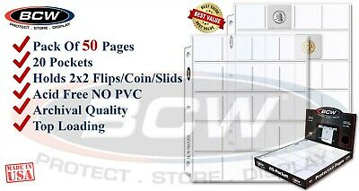 50 BCW Coin Pages 2x2 Pockets For Paper Flips Fit 3 Rings Binders PVC FREE New