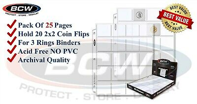 25 BCW Coin Pages 2x2 Pockets For Paper Flips Fit 3 Rings Binders PVC FREE New