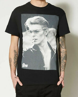 David Bowie T Shirt Smoking Portrait new Official Mens White 3//4 Sleeve Baseball