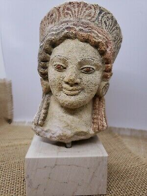 spectacular painted stone head ancient Greek carving museum replica?? Kore Korai