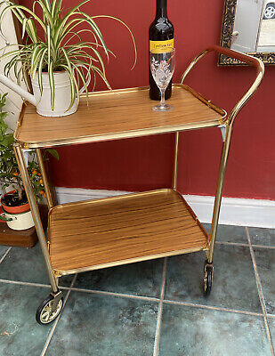 Vintage Retro 2 Tier Gold Wood Effect Cocktail Drinks Serving Trolley