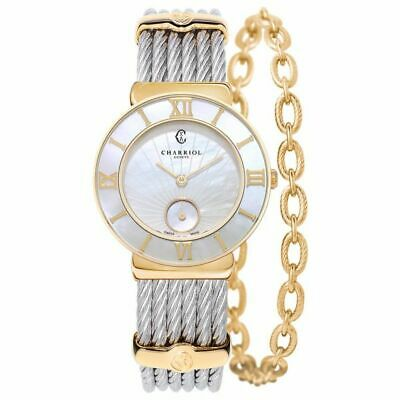 CHARRIOL St-Tropez gold & stainless steel white sunburst mother-of-pear 8016w