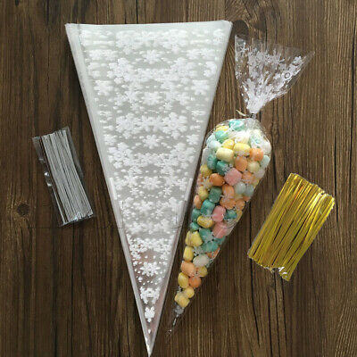 100x Christmas Cello Party Loot Bags Sweet Bag Cone Snowflake Candy Cellophane
