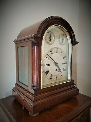 A Fine Large Triple Fusee Table / Mantle Clock In Mahogany By W & H - Circa 1900