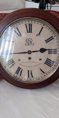 Antique Ingram Bros Wood Green London Mahogany Case Clock Circa 1910