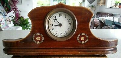 Vintage Napoleon Hat Mantel Clock 'Marquetry' Effect Transfer - Running Fast