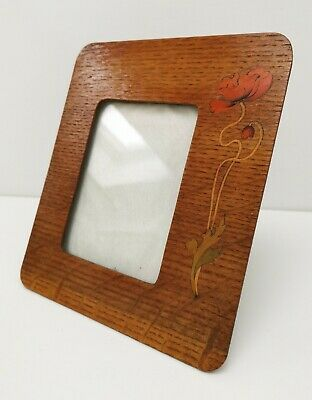 Vtg 1930s Boots Chemists Art Deco Inlaid Wooden Oak Flower Picture Photo Frame