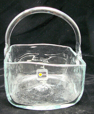 """Vintage Large Blenko Handmade Square Basket Clear Glass With Sticker 6x6.5"""""""
