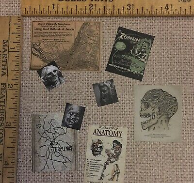 Vintage Asylum Wall//Desk Clutter 16 Pcs Halloween Dollhouse Miniature E47