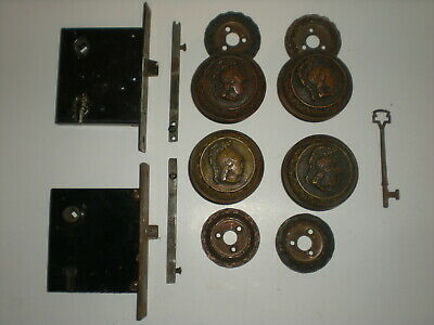 2 Antique Roman Greek Soldier Head Brass Door Knob Rosette Lock Sets w/ Key RARE