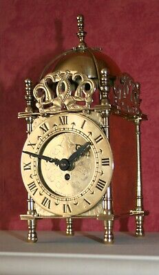 Vintage Lantern Clock made in England by S Smiths 1950's.