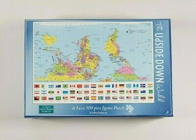 New - The Upside Down World Map Jigsaw Puzzle 500 Pieces Hobo Dyer Projection