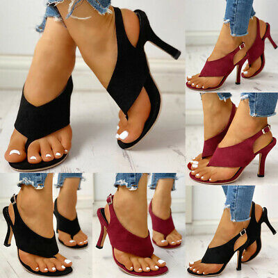Womens Strappy Buckle Peep Toe Sandals Ladies Stiletto High Heel Shoes Size