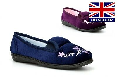 Womens Slip On Slippers Ladies Slippers Embroidered Hard Sole Burgundy Heather