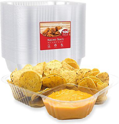 Large Nacho Trays (100 Pack) Disposable 2 Compartment Food Tray - Size 8 x 6