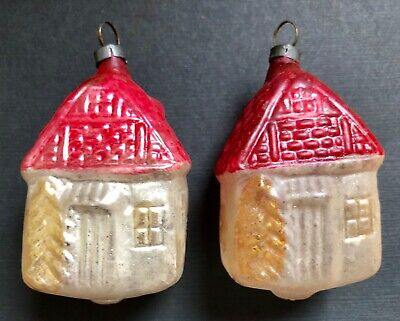 2 Antique Vintage Smaller Houses Glass German Feather Tree Christmas Ornaments