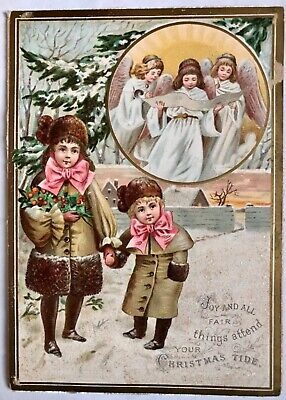 Antique Vintage Double Sided Children Angels Frosted Christmas & New Year Card