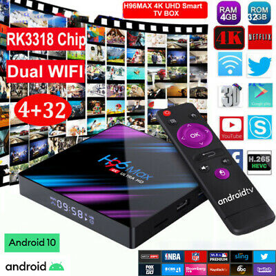 Smart TV BOX H96MAX Android 10.0 4GB 64GB Dual WIFI RK3318 4K 3D Media Player US