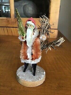 Early German Chenille Santa w/tree Christmas display with wooden mica base