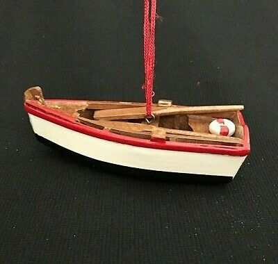 Wooden Rowboat Dinghy VGC Coastal Nautical Ornament