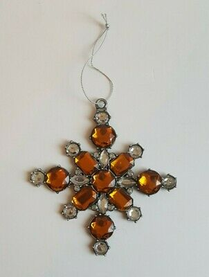 Gold Clear Glass Stones Snowflake Christmas Tree Ornament Metal 4 1/2""