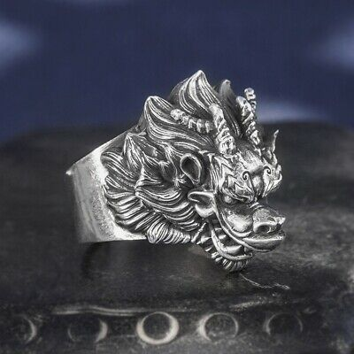 999 Sterling Silver Thai MENS  handmade  dragon head gift ring jewelry S5188