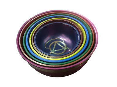 Tibetan Set of 7 Color  Chakra Meditation Singing Bowl For Healing Prayer & Yoga