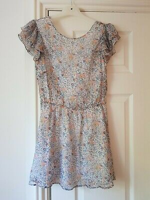 Jack Wills Heatherington Embroidered Dress Ladies Mid Indigo Blue UK 14  *REF103