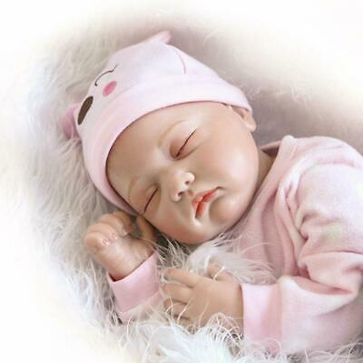 "22""Cute Reborn Dolls Soft silicone vinly Baby Lifelike Sleeping Doll Wear Pink"