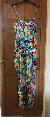 Bright floral ladies playsuit beach overalls UK10 sml spaghetti straps pockets