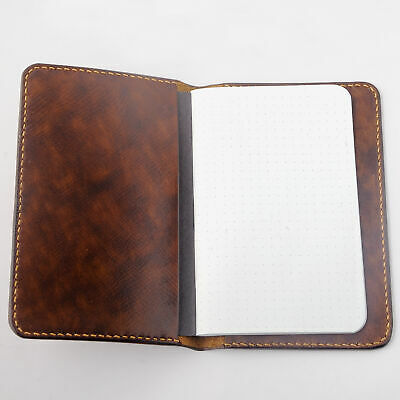 "Notebook Leather Cover For 3.5""X5.5"" Memo Book Field Notes Moleskine Brown New"